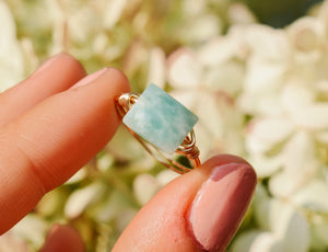 Rectangle Aqua Amazonite Ring
