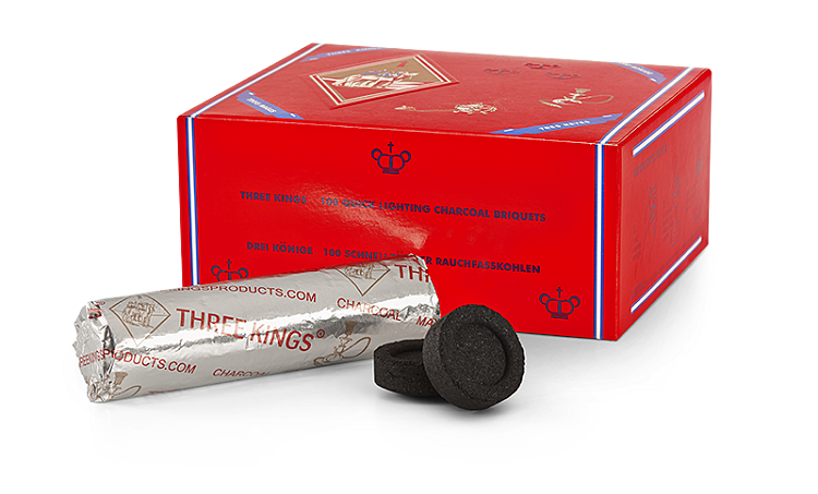 Three King- Pack of 10 x 40mm charcoal Tablets (for incense/Shisha)