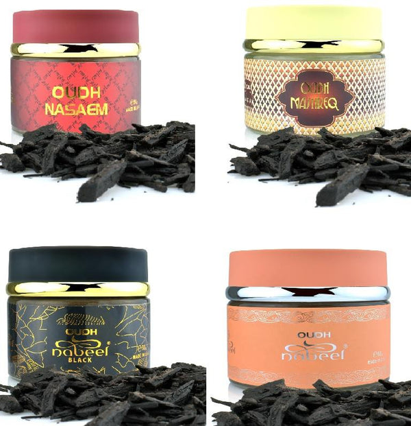 Assorted 4 (four) Pack Nabeel 60gm Oudh: Nasaem, Black, Nabeel and Mashreq
