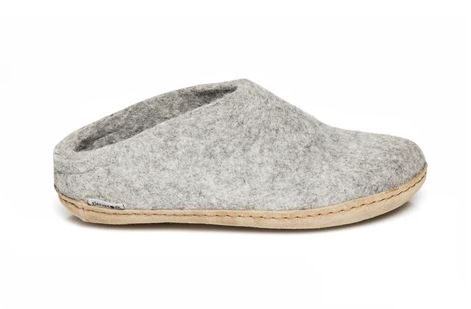 GLERUPS GREY LEATHER SOLE SLIPPER