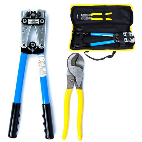 Battery Cable Lug Crimper Tool 6-50mm², Wire Crimping Tool, Hand Electrician Pliers for Crimping Wire Cable with Cable Cutter