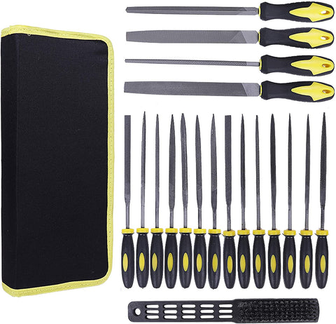 19Pcs Carbon Steel File Set with Carry Case, Soft Rubbery Handle, 4 Flat/Half-round/Round/Triangle Files Tool, 14 Needle Files Set with 1 Brush for Woodwork Metal Model Hobby Applications