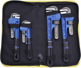 4 Pack Set Heavy Duty Pipe Wrench Set Heat Treated Adjustable 8, 10, 12, 14 Inches Soft Grip Pipe Wrench Set with Storage Bag