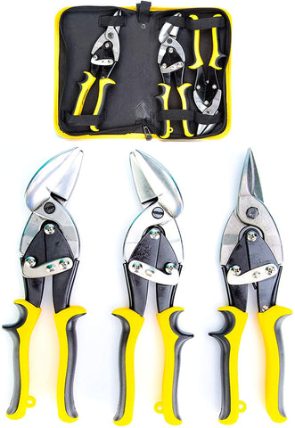 KOTTO 3 Packs Aviation Snip Set, Sheet Metal Cutter, Straight, Left and Right Cut Offset Tin Cutting Shears with Forged Blade for Steel, Aluminum, Leather, Copper with Storage Bag