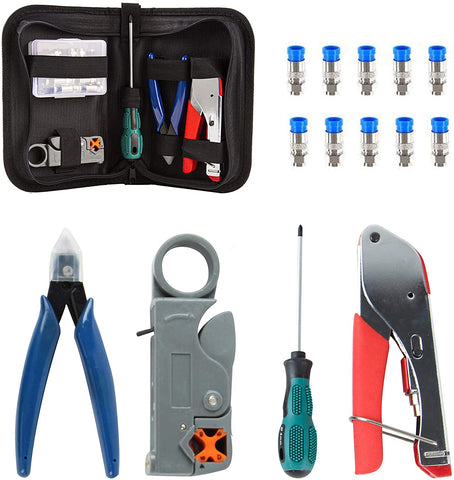 Coax Cable Crimper, Coaxial Compression Tool Kit Wire Stripper with F RG6 RG59 Connectors and Storage Bag (Grey Kit)