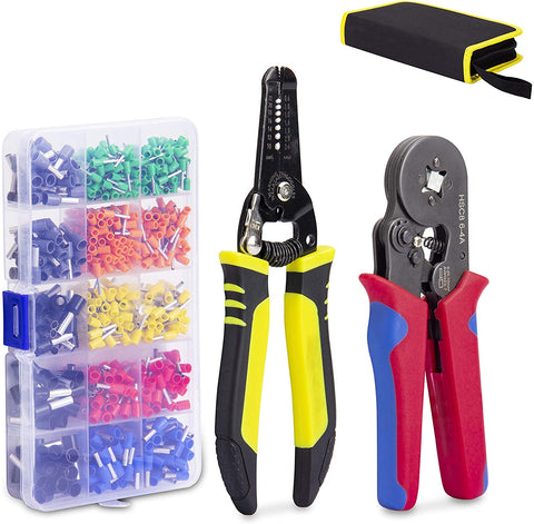 KOTTO Ferrule Wire Terminal Block Crimping Tool Plier Tool Kit Set with 860 Ferrules, Wire cutter, Storage Bag