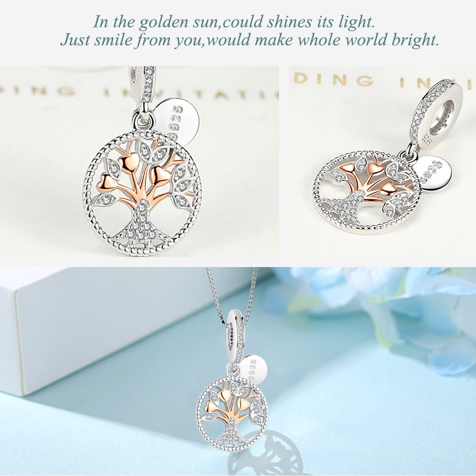925 Sterling Silver and Bright Crystals Family Tree Charm