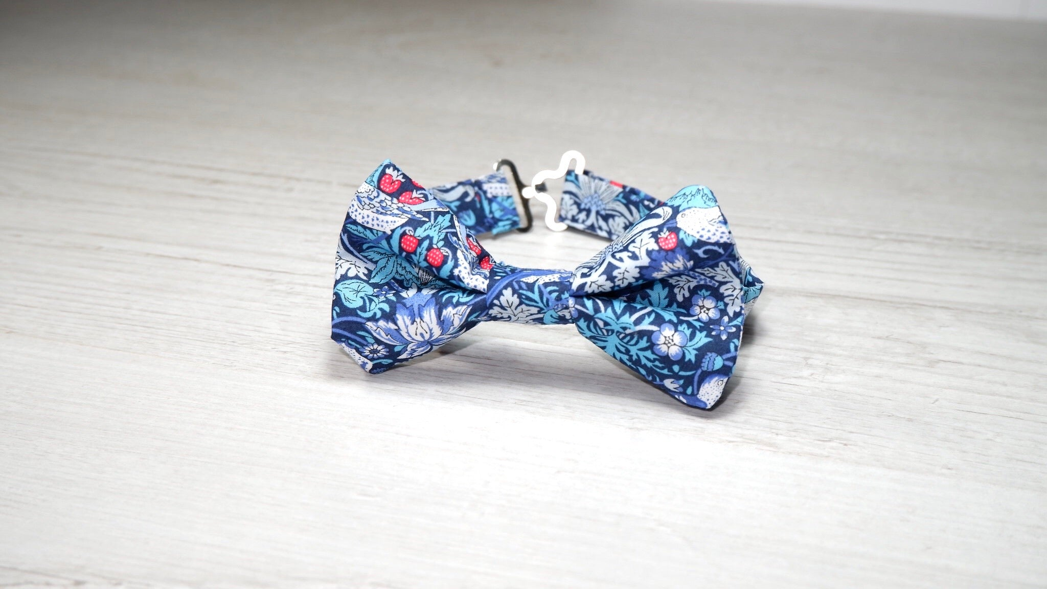 Liberty Strawberry Thief Blue Bow Tie
