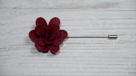 Burgundy Felt Flower Lapel Pin