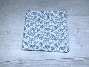 Liberty Ella and Libby Pocket Square / Blue Floral Handkerchief