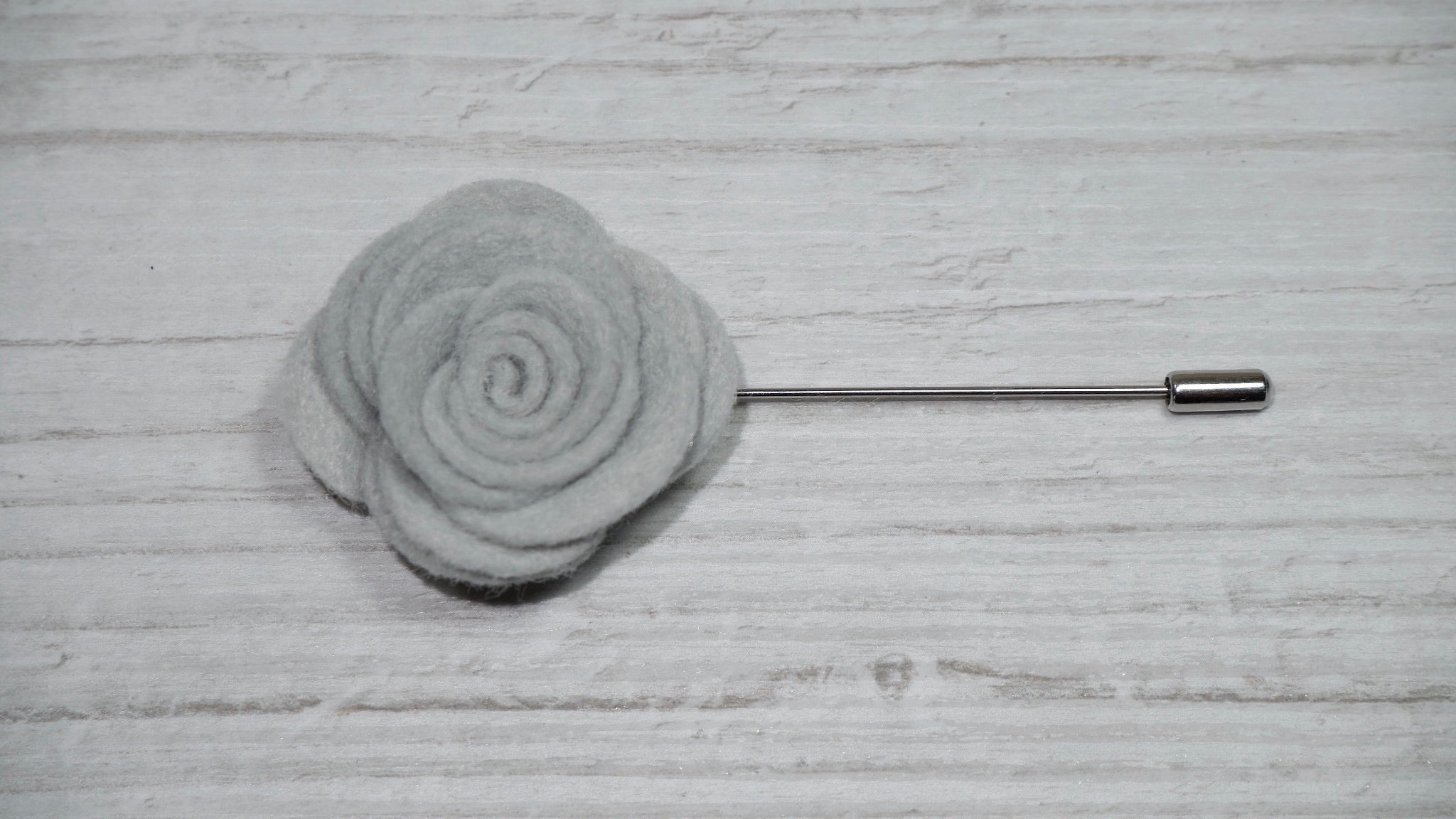 Grey Felt Flower Lapel Pin