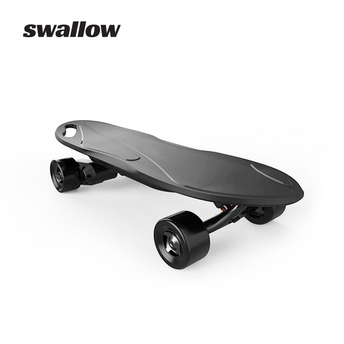 Swallow King Kong electric skateboard front view in black