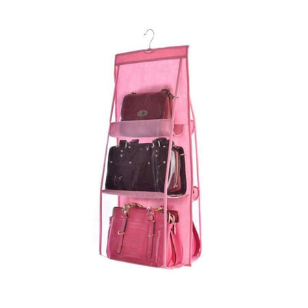 6 Pocket Hanging Handbag Organizer for Bag Collect Wardrobe Closet Dustproof Storage Bag Door Wall Sundry Shoe Bag with hook up