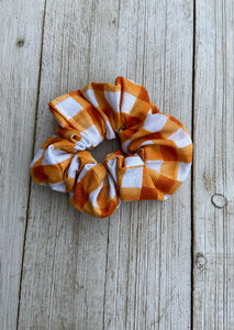 Orange Plaid Scrunchies