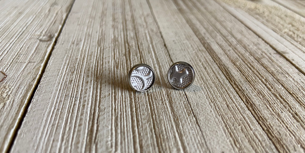 8mm Silver Embossed earrings