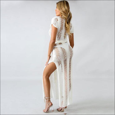 2 Pcs/Set Sexy Hollow See-through Coverup - Sets Co-ords