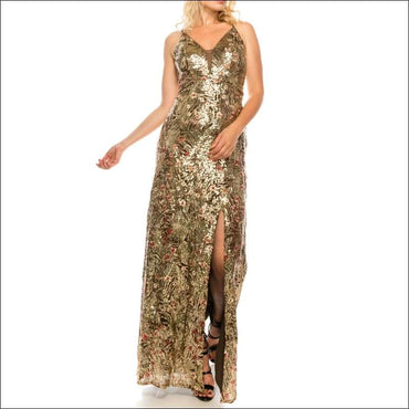 Allover Sequined & Floral Embroidered Gown370x