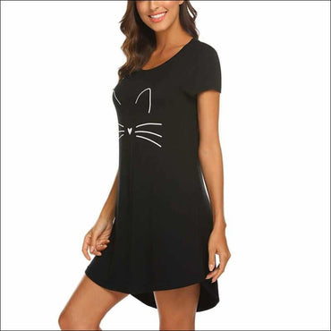 Cartoon Pattern Casual Short Sleeve Comfy Nightdress -