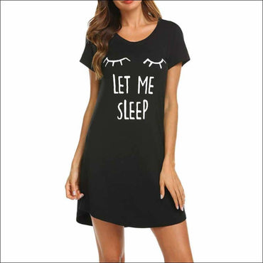 Cartoon Pattern Casual Short Sleeve Comfy Nightdress - S /