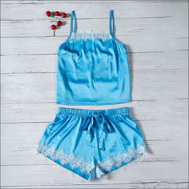 Casual Patchwork Lace Crop Camosole And Shorts Set370x