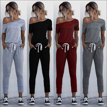 Casual Short-sleeve Irregular Jumpsuits - Jumpsuits