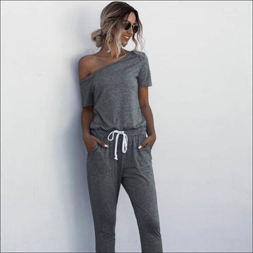 Casual Short-sleeve Irregular Jumpsuits - S / D.Grey -
