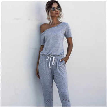 Casual Short-sleeve Irregular Jumpsuits - S / Lt.Grey -