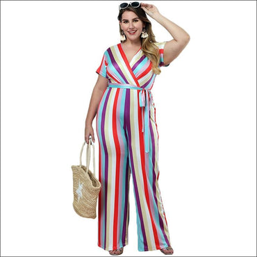 Casual Short-sleeve Stripe Print Jumpsuits - L / Stripe -