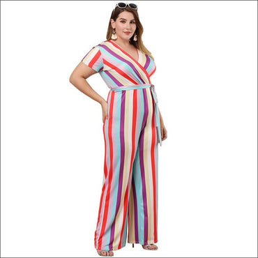 Casual Short-sleeve Stripe Print Jumpsuits - XL / Stripe -