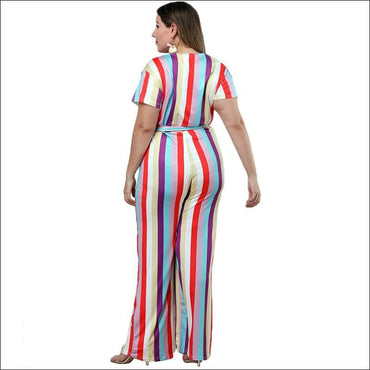 Casual Short-sleeve Stripe Print Jumpsuits - XXL / Stripe -