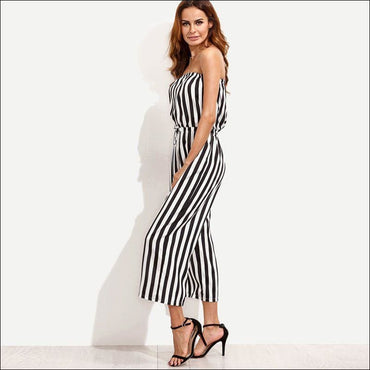 Casual Strapless Classic Stripes Print Wide-leg Jumpsuits -
