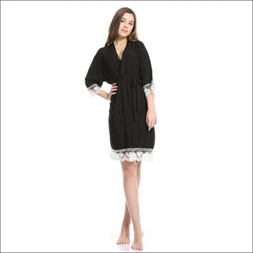 Cotton Lace Night-robe Home - S / Black - Lingerie & Sleep