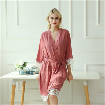 Cotton Lace Night-robe Home - S / Brick Red - Lingerie &