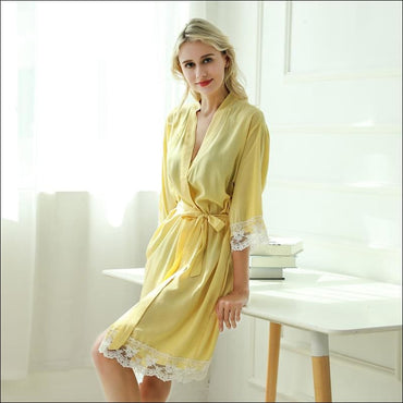 Cotton Lace Night-robe Home - S / Bright Yellow - Lingerie &