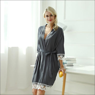 Cotton Lace Night-robe Home - S / D.Grey - Lingerie & Sleep