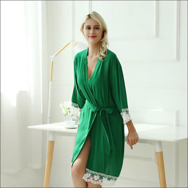 Cotton Lace Night-robe Home - S / Grass Green - Lingerie &