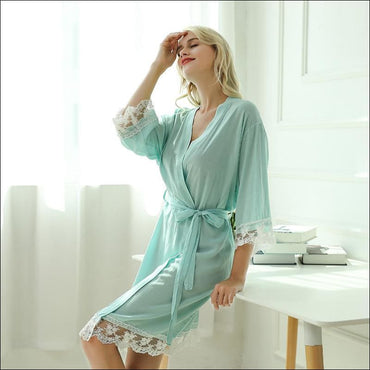 Cotton Lace Night-robe Home - S / Green - Lingerie & Sleep