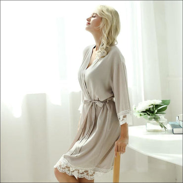 Cotton Lace Night-robe Home - S / Grey - Lingerie & Sleep