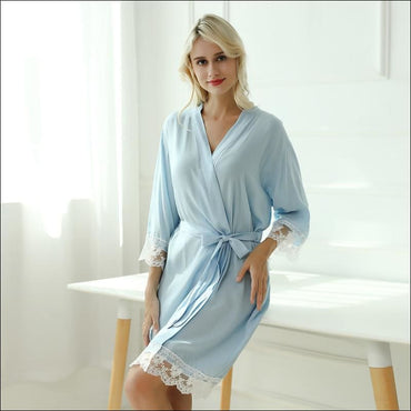 Cotton Lace Night-robe Home - S / Lt.Blue - Lingerie & Sleep