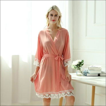 Cotton Lace Night-robe Home - S / Lt.Pink - Lingerie & Sleep
