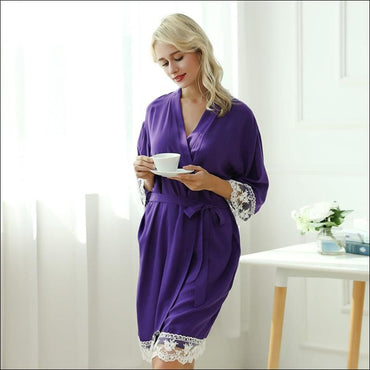 Cotton Lace Night-robe Home - S / Purple - Lingerie & Sleep