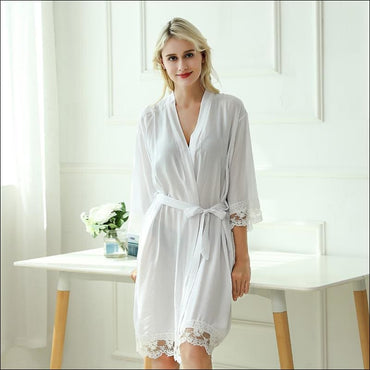 Cotton Lace Night-robe Home - S / White - Lingerie & Sleep