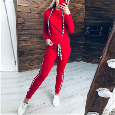Drawstring Long-sleeve Hoodie And Letter Print Pants Sports Two Pieces Sets370x
