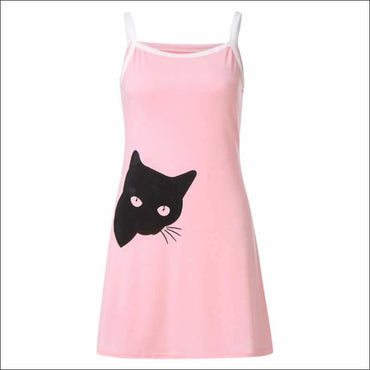 Elastic Slim Pack Hip Sleeveless Nightdress Cat Pattern -