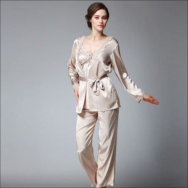 Elegant Autumn And Winter Silk Pajamas - Lingerie & Sleep