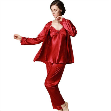Elegant Autumn And Winter Silk Pajamas370x