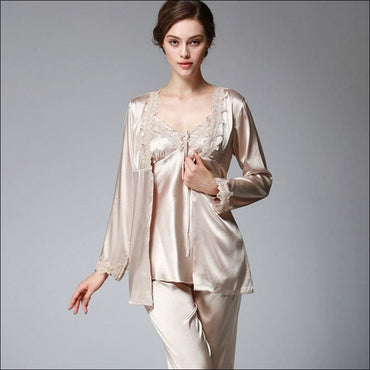 Elegant Autumn And Winter Silk Pajamas - M / Camel -