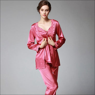 Elegant Autumn And Winter Silk Pajamas - M / Coral Red -