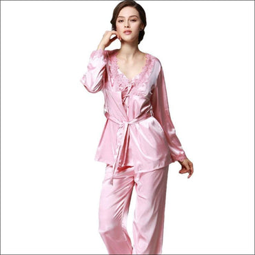 Elegant Autumn And Winter Silk Pajamas - M / Pink - Lingerie