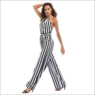 Elegant Stripes Pattern Halter Neck Wide-leg Jumpsuits - L /
